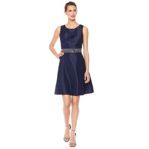 Cocktail Flair Dress w Beaded Waist Sleeveless C81